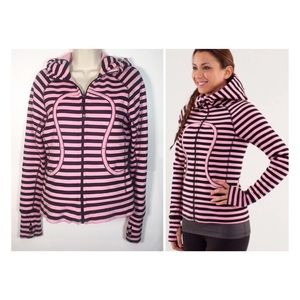 Lululemon Pink & Black Sea Stripe Scuba Hoodie